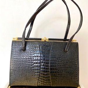 Vintage 50s faux crocodile leather handbag 🖤